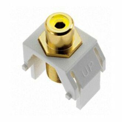 Legrand-On-Q Yellow RCA to F-Connector Keystone Insert, White (M20)