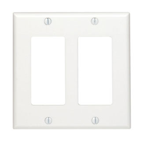 Leviton 80409-00W Double Gang Decora Style Faceplate