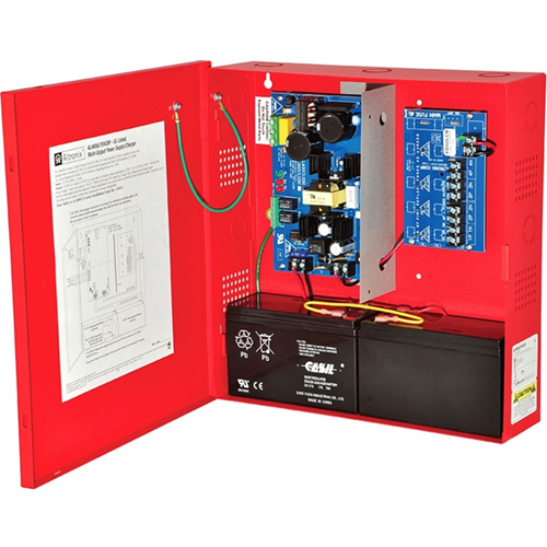Altronix 4 PTC Outputs Power Supply/Charger. 12VDC @ 4A or 24VDC @ 3A. Red Encl & Xfmr
