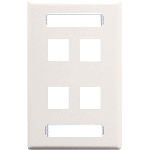ICC 4-Port Single Gang Faceplate With Station ID