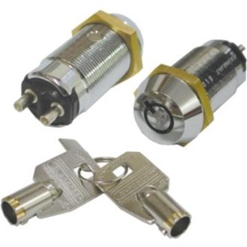 Seco-Larm Tubular Key Lock Switch, Momentary ON / Shunt OFF, 2 Terminals, SPST, #1310