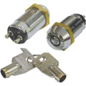 Seco-Larm Tubular Key Lock, Momentary ON/Shunt OFF, 2 Terminals, SPST, #1300