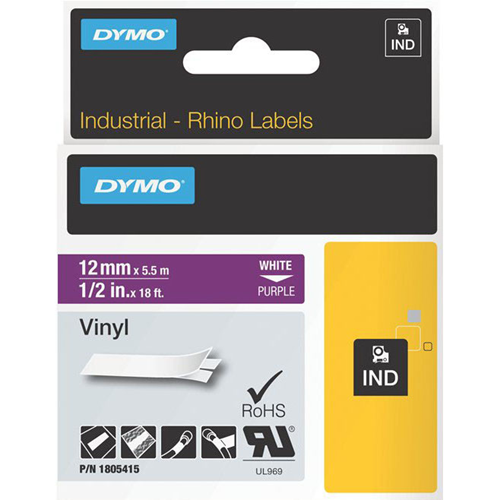 Dymo White on Purple Color Coded Label