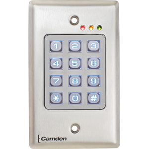 Camden OutDoor, Vandal Resistant, Metal Backlit Keypad, 999 Users, 12/24V AC/DC