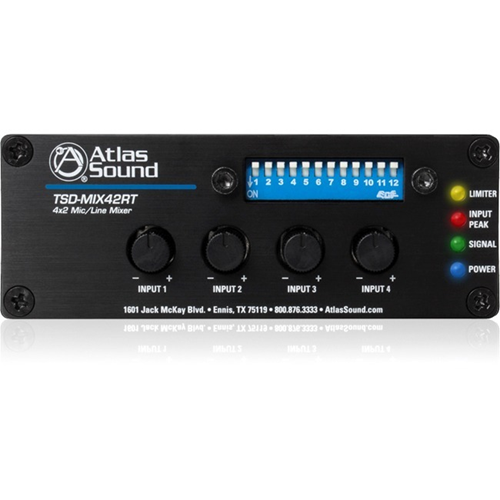Atlas Sound 4x2 Mic/Line Mixer with Priority Sense and Remote Control