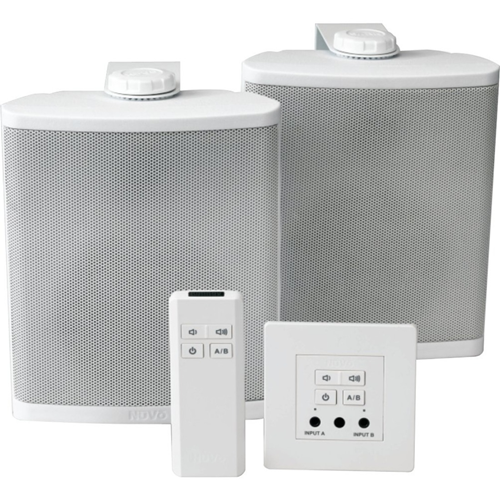 Legrand-Nuvo 40 Watt Wall-Mounted Amplifier, Decora Style with Wall Speakers