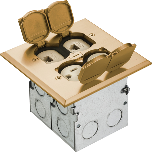 Arlington Combo Floor Box Kit with Installed Low Voltage Divider
