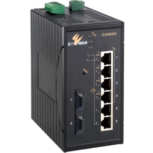 EtherWAN 7-port 10/100BASE-TX +1-port 100BASE-FX Hardened Web-Smart PoE Ethernet Switch