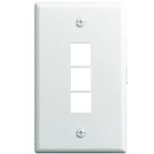 Legrand-On-Q 1-Gang, 3-Port Wall Plate, White