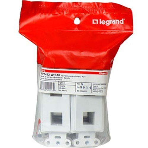 Legrand-On-Q 2-Port Decorator Outlet Strap, White