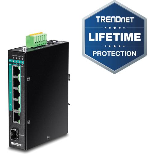 TRENDnet 5-port Hardened Industrial Gigabit PoE+ DIN-Rail Switch