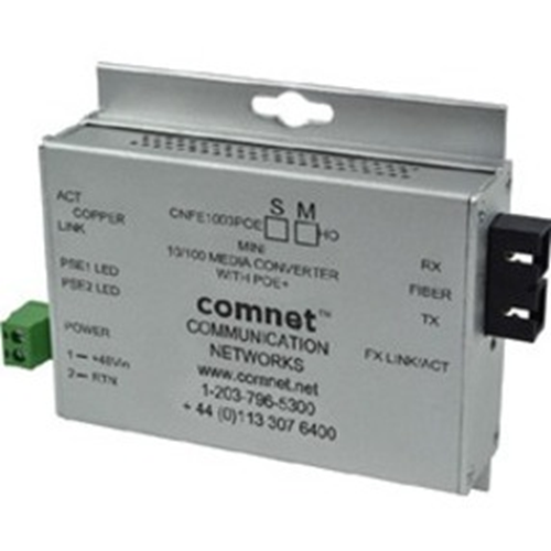 """ComNet Industrially Hardened 100Mbps Media Converter with 48V POE, Mini, """"A"""" Unit"""