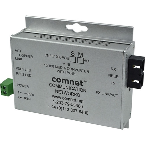 ComNet Industrially Hardened 100Mbps Media Converter with 48V POE, Mini, SFP Required