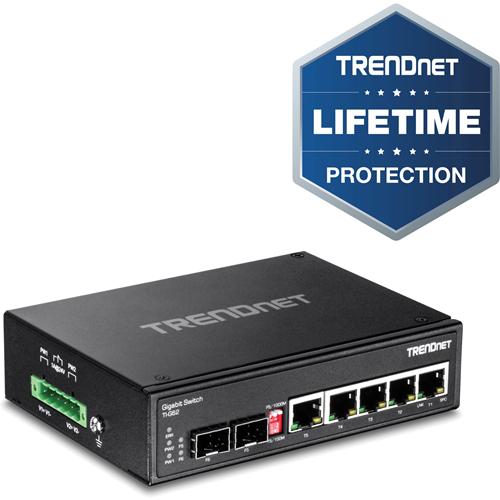 TRENDnet 6-Port Hardened Industrial Gigabit DIN-Rail Switch