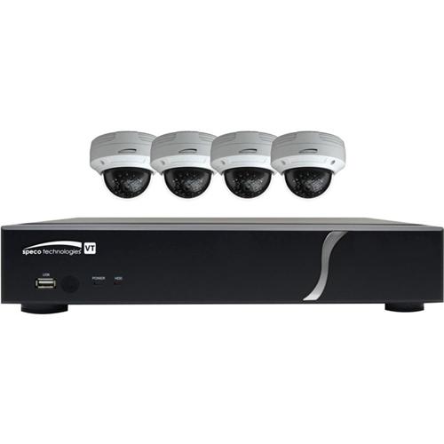 Speco 8 Channel HD-TVI 1080p DVR, 2TB 4 HD-TVI 1080p Outdoor IR Bullet Cameras
