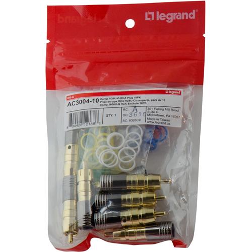 Legrand-On-Q Compression RG6U/Quad Shield RCA Plug, 10pack