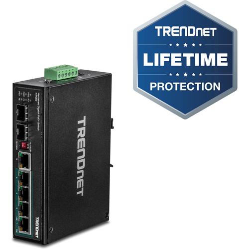 TRENDnet 6-Port Hardened Industrial Gigabit PoE+ DIN-Rail Switch