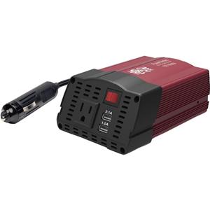 Tripp Lite 150W Compact Car Inverter 12V 120V 2-Port USB Charging 1 Outlet