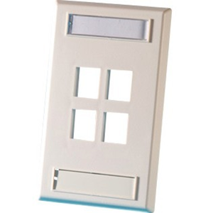 Ortronics Single Gang Plastic Faceplate, Holds Four Keystone Jack Or Module, Cloud White