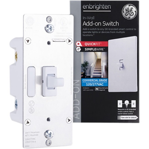 Enbrighten Add-On Switch with QuickFit and SimpleWire, Toggle, White