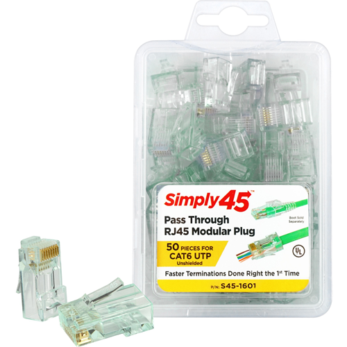 SIMPLY45 1601 - Cat6 Unshielded - Pass Through TJ45 - 50pc Clamshell