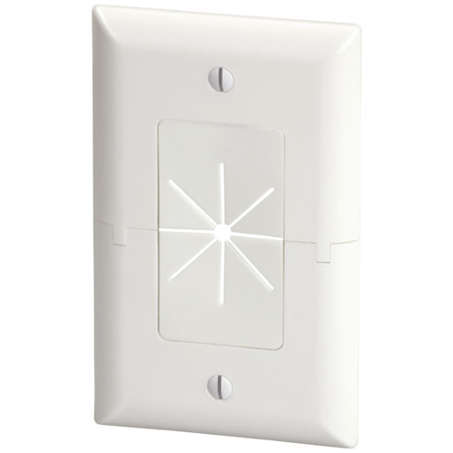 DataComm 45-0017-WH Split Plate with Flexible Opening (White)