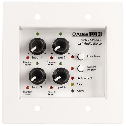 Wtsd Indoor/Outdoor Analog Wall 4x1 Mic/Line Mixer