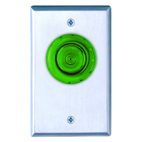 Spring Return Button, N/C, Momentary. Green Button