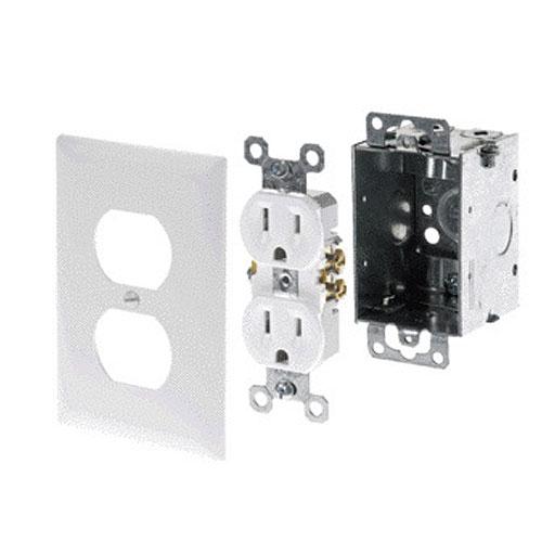 Legrand-On-Q AC Power Kit (Electrical Box, White Duplex Receptacle, White Faceplate)