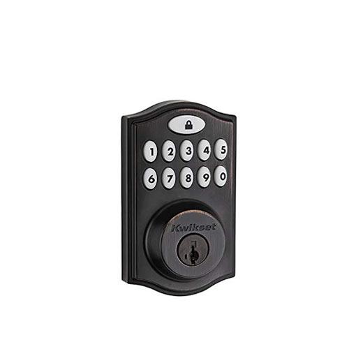 Kwikset Z-Wave® SmartCode 914 Push Button Deadbolt, Bronze