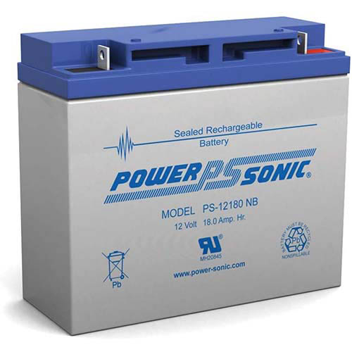 Power Sonic Ps-12180 Nb, 12v 18ah Sealed Lead Acid Battery
