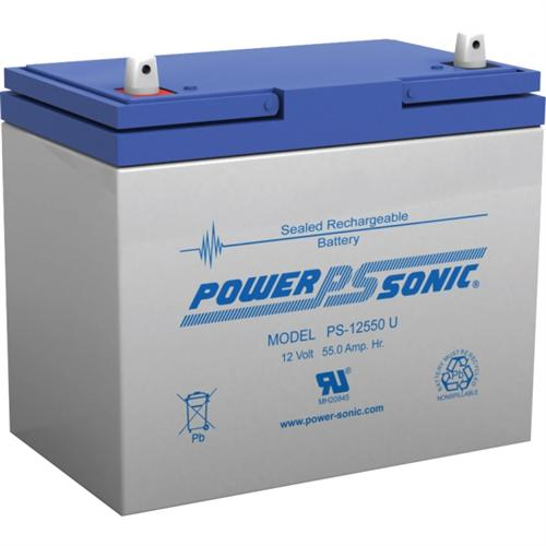 Power Sonic PS-12550U 12V 8Ah, Rechargeable Sealed Lead Acid Battery with NB Terminal
