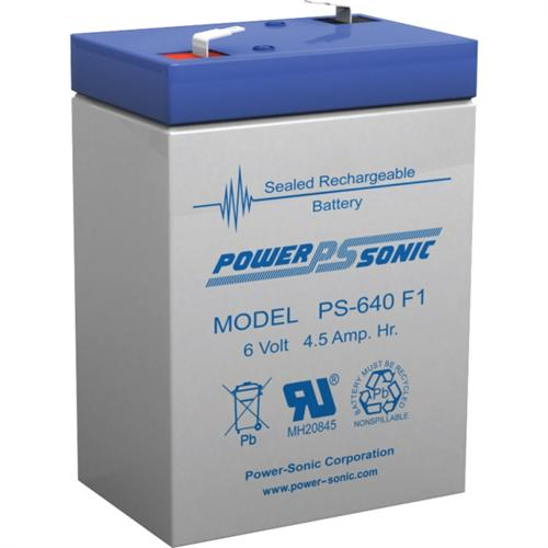 Power Sonic PS-640F1 6V 4.5Ah Rechargeable Sealed Lead Acid Battery with F1 Terminal