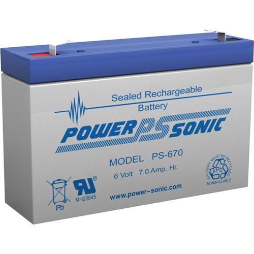 Power Sonic PS-670 6V 7Ah Rechargeable Sealed Lead Acid Battery