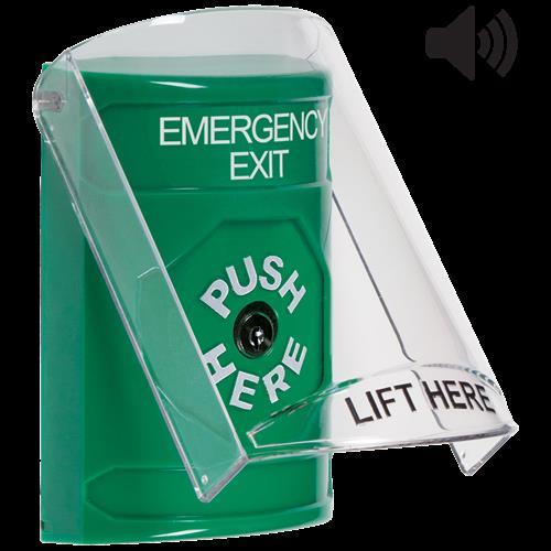 Safety Technology Green Key To Reset Stopper Station With Shield/Sou