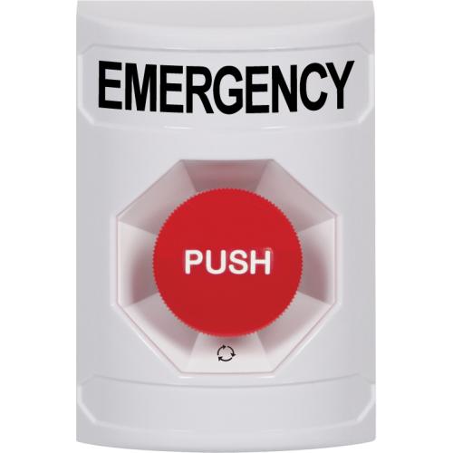 Safety Technology Wht Stppr Sta, No Cvr, Push & Ttr, Emergency Label