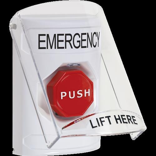 Safety Technology White Ss, 6517 Shield, Key To Reset, Emergency Lbl