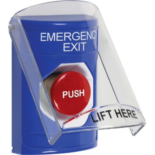 Blu Push Bttn, Mmntry, Stppr Shld Cvr, Emergency Exit