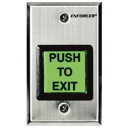 Enforcer SD-7202GC-PEQ Request-To-Exit Plate - Illuminated Square Push Button