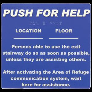 Talkaphone Area of Refuge Self-Adhesive Sign