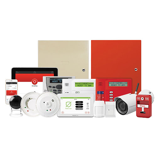 Honeywell Home V32FBPT-COM VISTA® Fire & Burglary Alarm Control Panel In Large Red Cabinet With Transformer